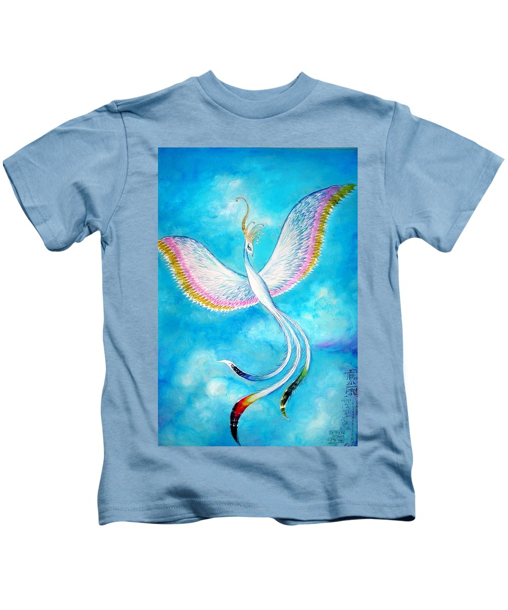 White Bird Kids T-Shirt featuring the painting White Bird From Kingdom Of Immortals by Sofia Metal Queen