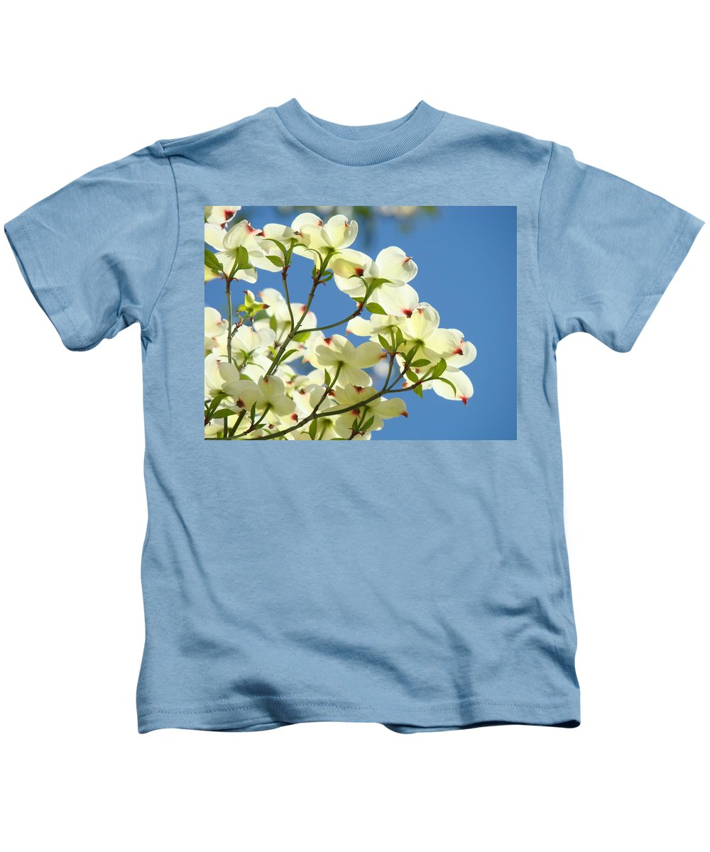 Dogwood Kids T-Shirt featuring the photograph White Dogwood Flowers 1 Blue Sky Landscape Artwork Dogwood Tree Art Prints Canvas Framed by Baslee Troutman