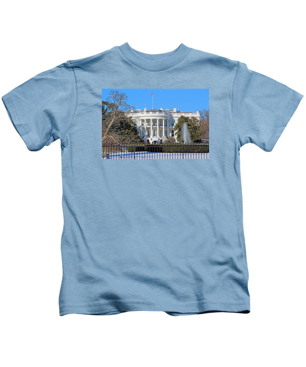 White Kids T-Shirt featuring the photograph White House South Lawn With Snow by Cora Wandel