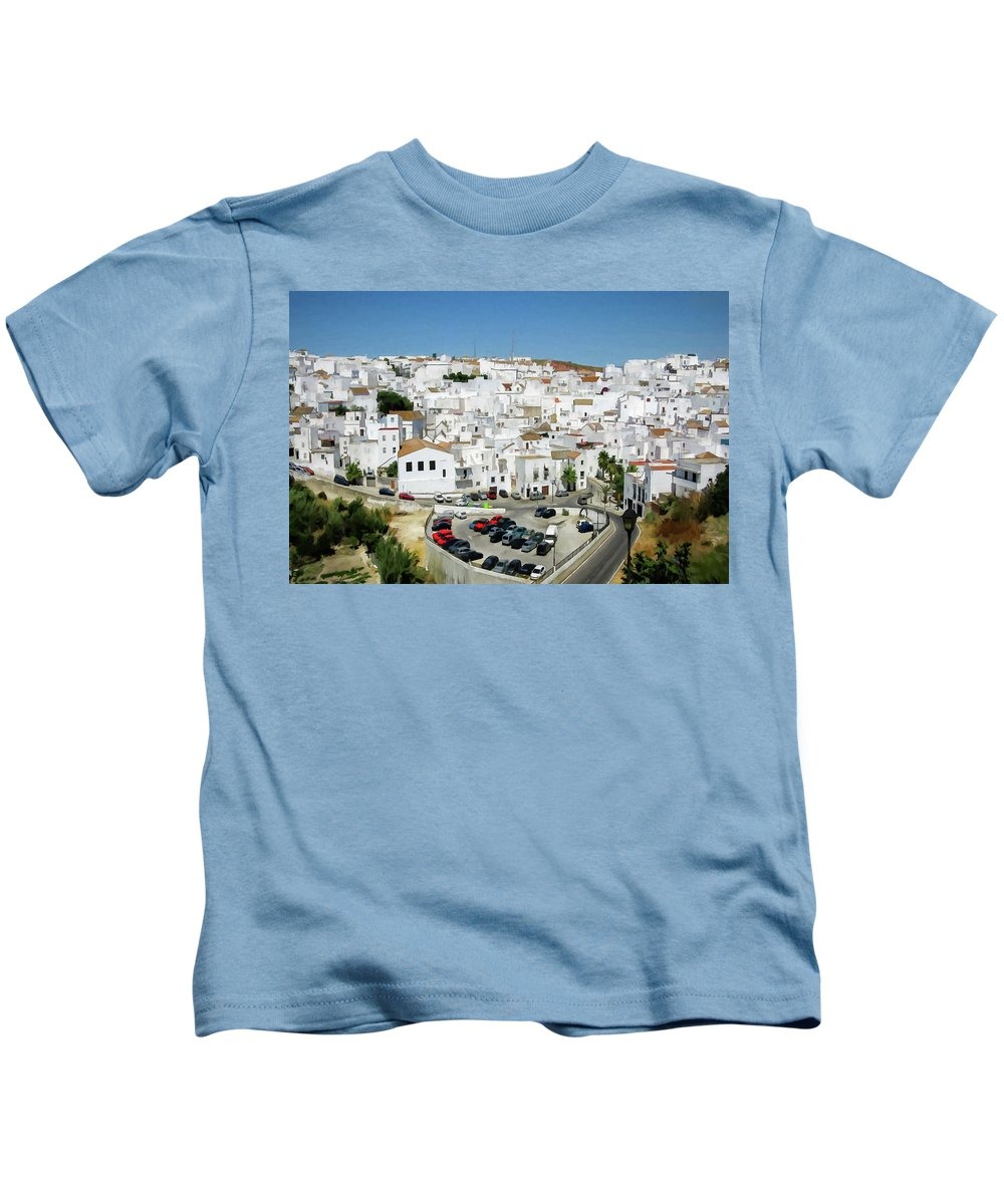 Village Kids T-Shirt featuring the digital art White Houses by Ronald Bolokofsky