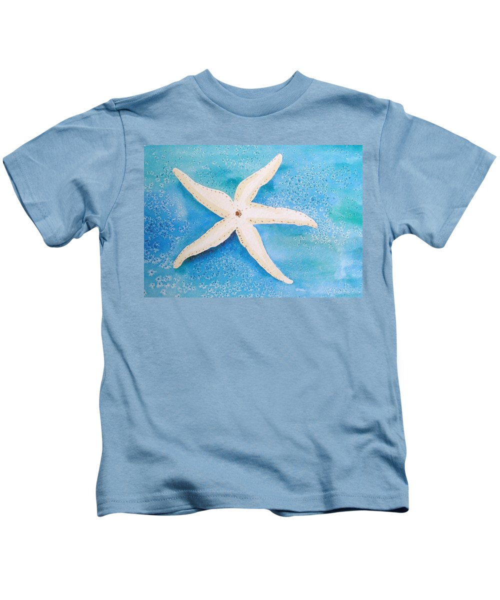 Starfish Kids T-Shirt featuring the painting White Starfish by Patricia Piffath