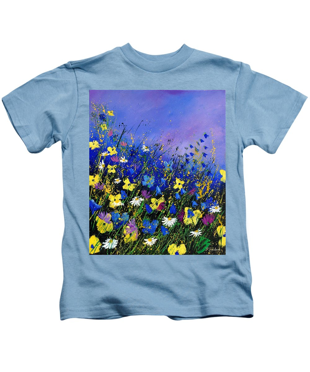 Flowers Kids T-Shirt featuring the painting Wild Flowers 560908 by Pol Ledent