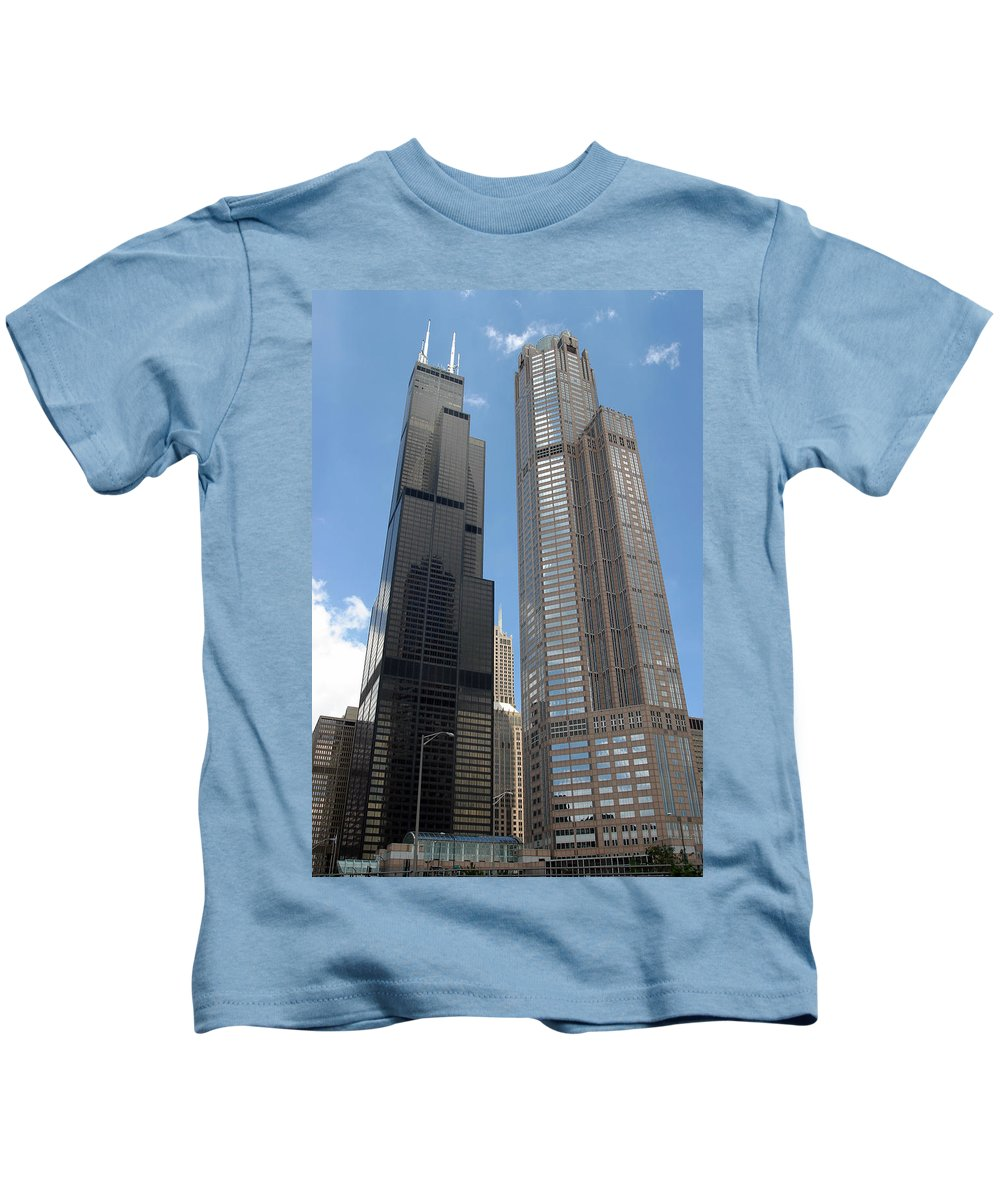 3scape Kids T-Shirt featuring the photograph Willis Tower Aka Sears Tower And 311 South Wacker Drive by Adam Romanowicz