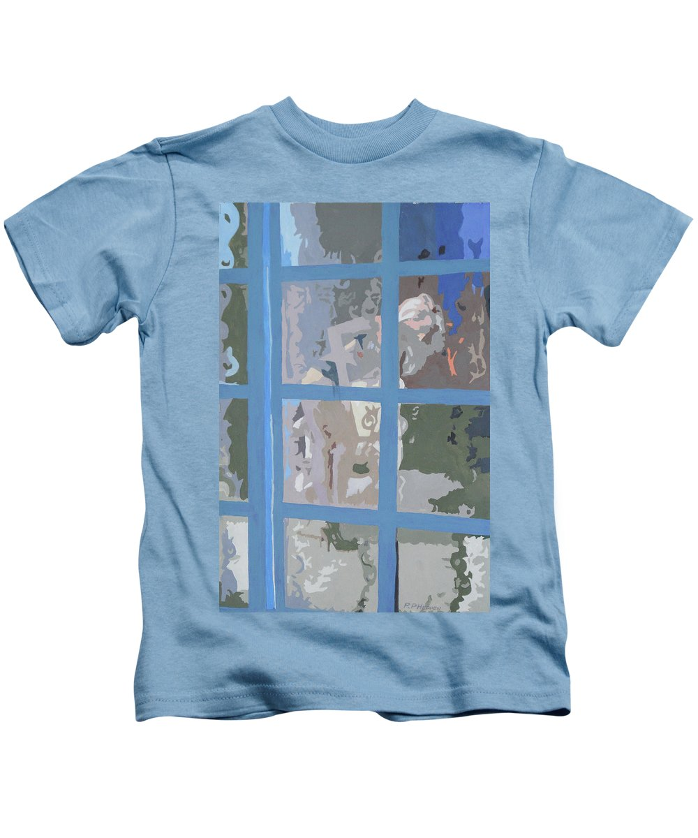Female Figure Kids T-Shirt featuring the painting Windows Are For Looking Out 2 by Robert P Hedden