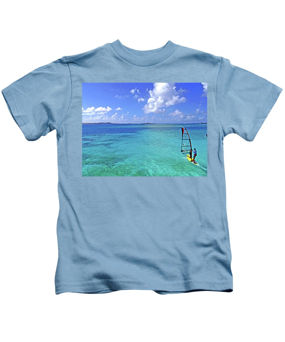 Windsurfing Kids T-Shirt featuring the photograph Windsurfing The Islands by Scott Mahon