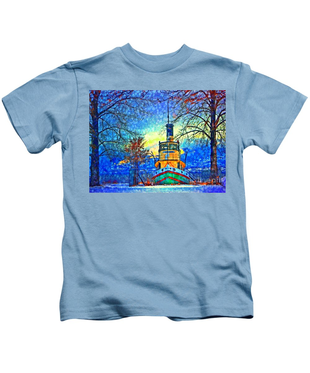 Tug Kids T-Shirt featuring the photograph Winter And The Tug Boat 2 by Tara Turner