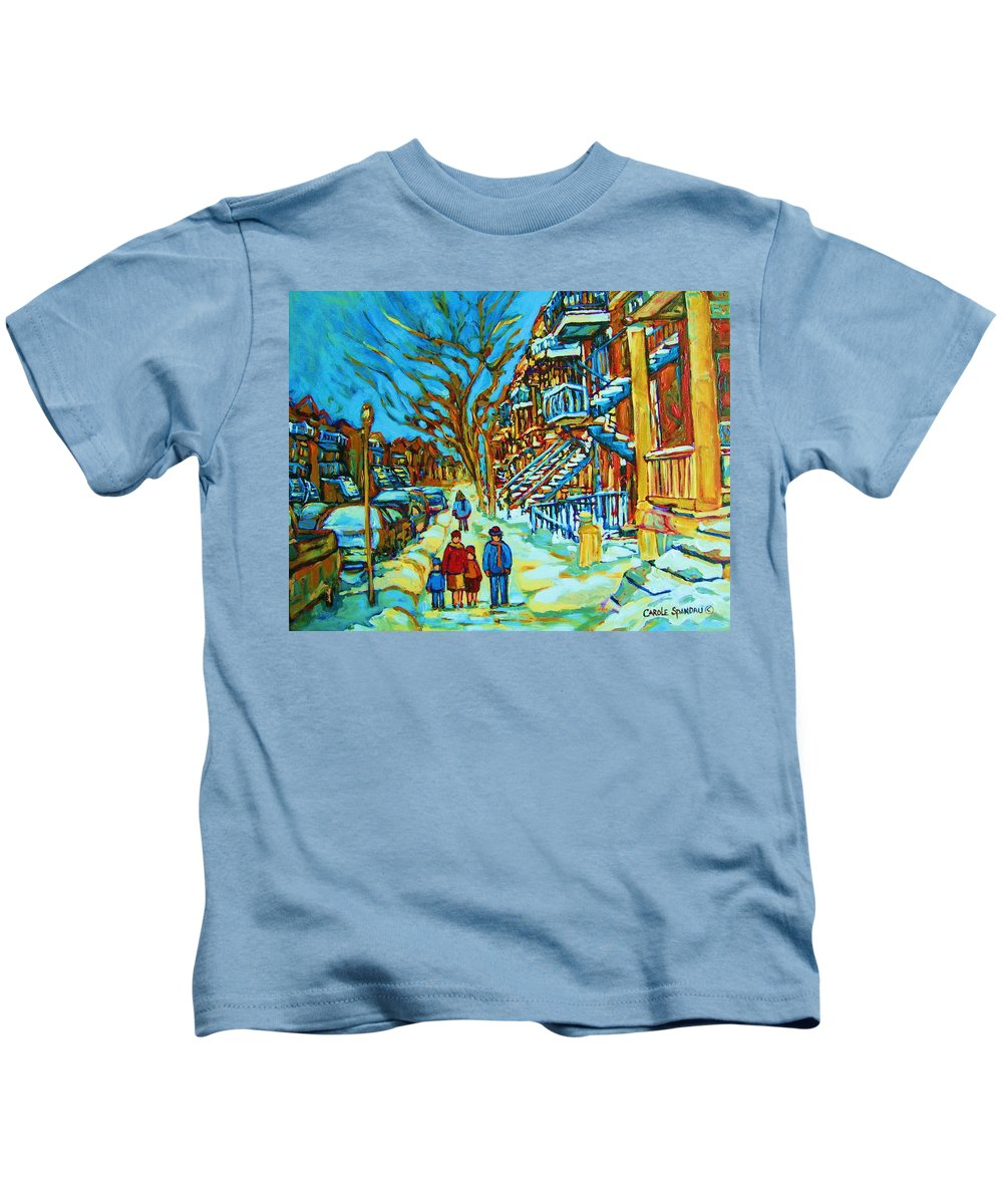 Winterscenes Kids T-Shirt featuring the painting Winter Walk In The City by Carole Spandau