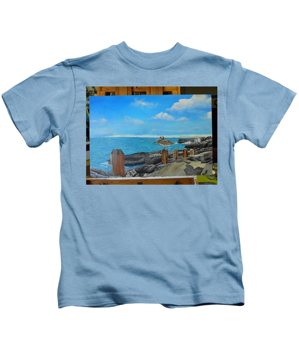 Kids T-Shirt featuring the painting Wip- Pelican 02 by Cindy D Chinn