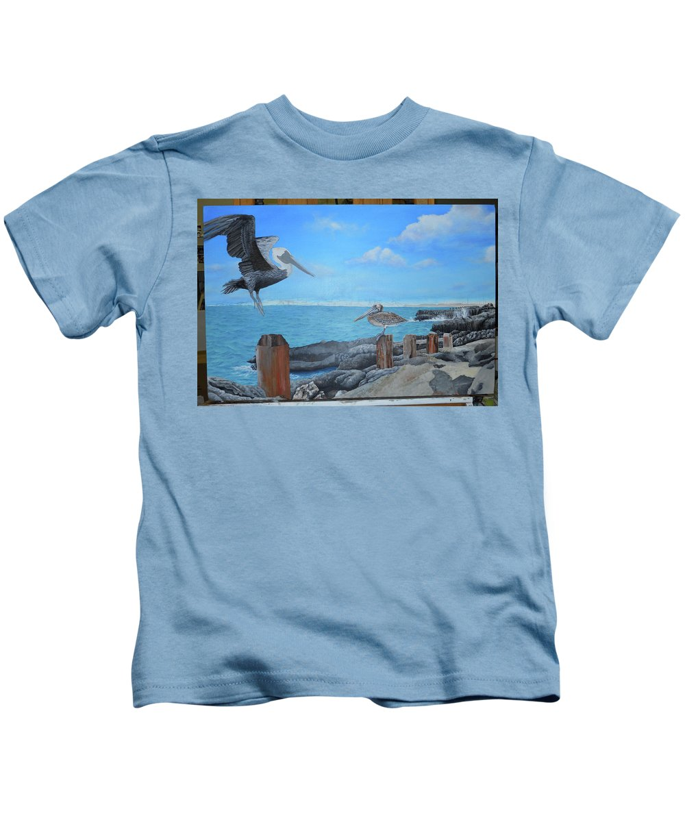 Kids T-Shirt featuring the painting Wip- Pelican 03 by Cindy D Chinn