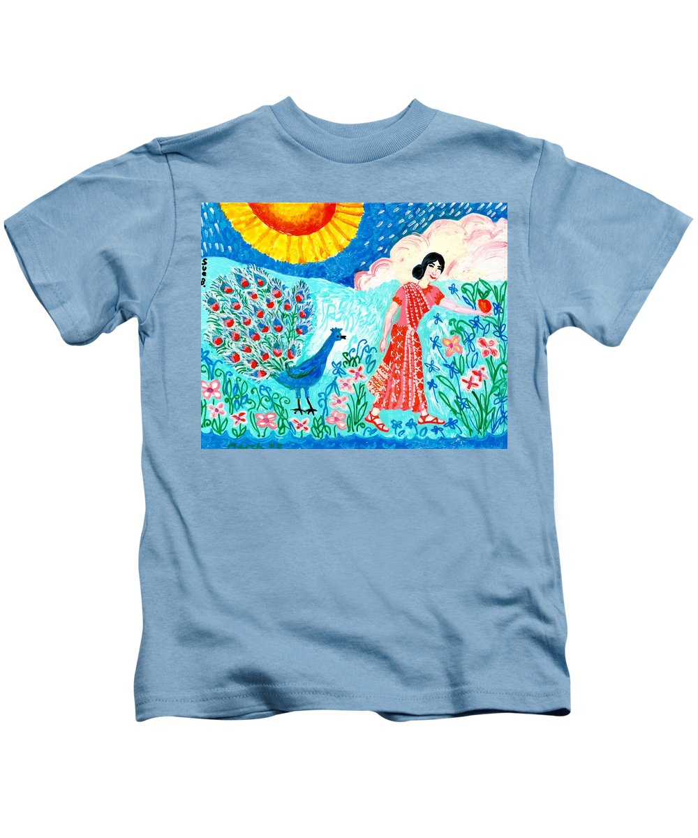 Sue Burgess Kids T-Shirt featuring the painting Woman With Apple And Peacock by Sushila Burgess