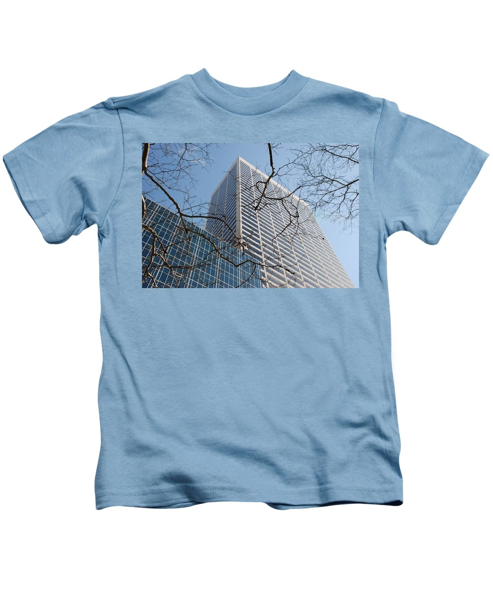 Architecture Kids T-Shirt featuring the photograph Wood And Glass by Rob Hans