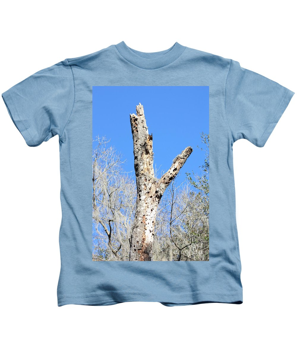 Old Tree Kids T-Shirt featuring the photograph Woodpecker Was Here by Carol Groenen