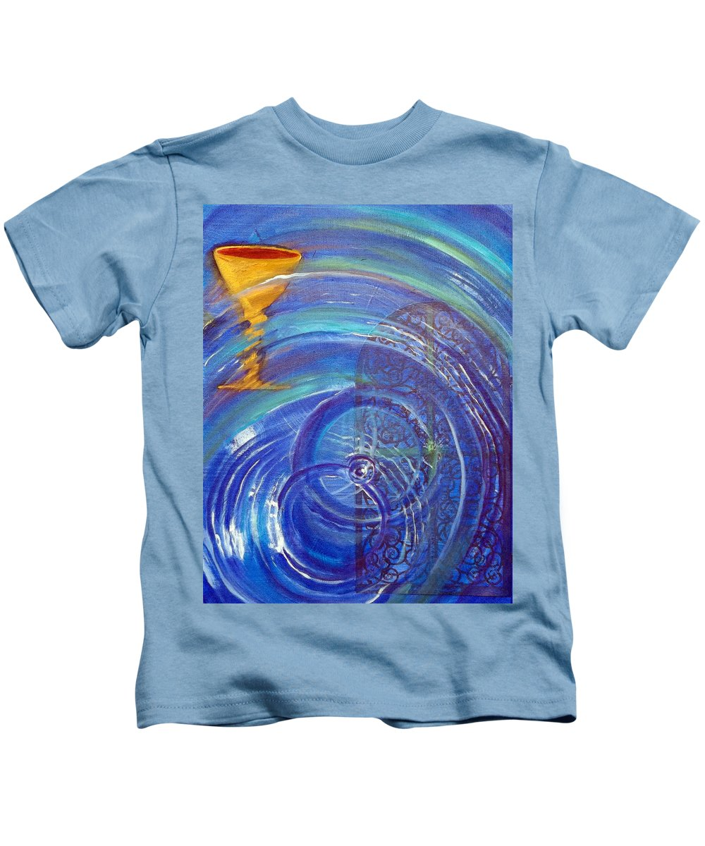 Cup Kids T-Shirt featuring the painting Yaweh El Shaddai Right Canvas Detail by Anne Cameron Cutri
