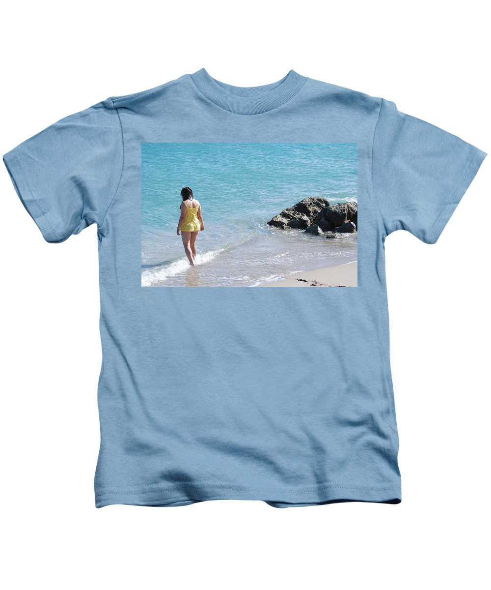 Sea Scape Kids T-Shirt featuring the photograph Yellow And Blue by Rob Hans