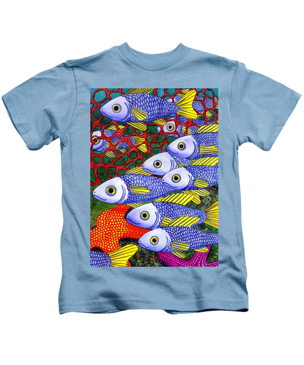 Fish Kids T-Shirt featuring the painting Yellow Fins by Catherine G McElroy