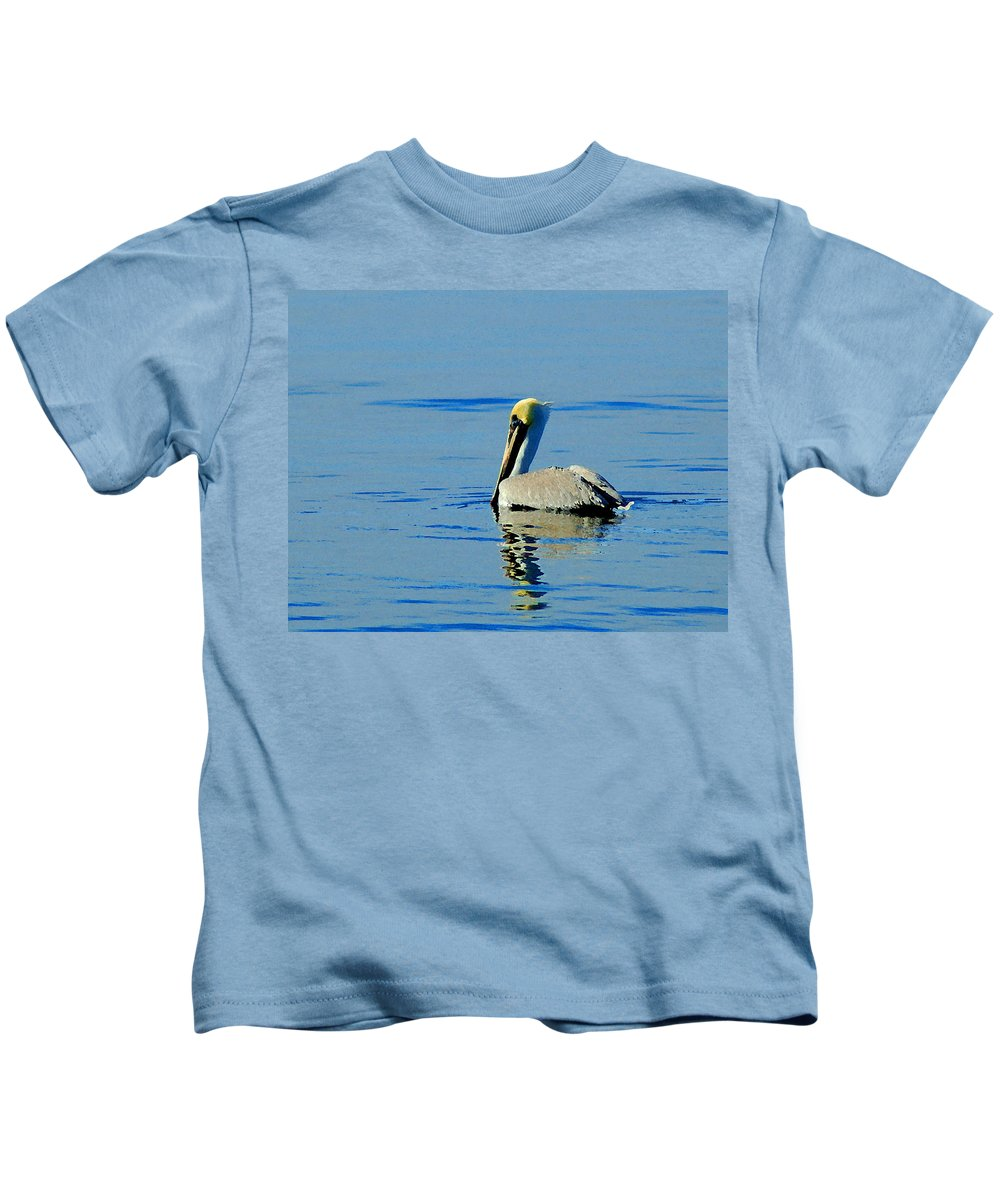 Pelican Kids T-Shirt featuring the painting Yellow Headed Pelican by Michael Thomas