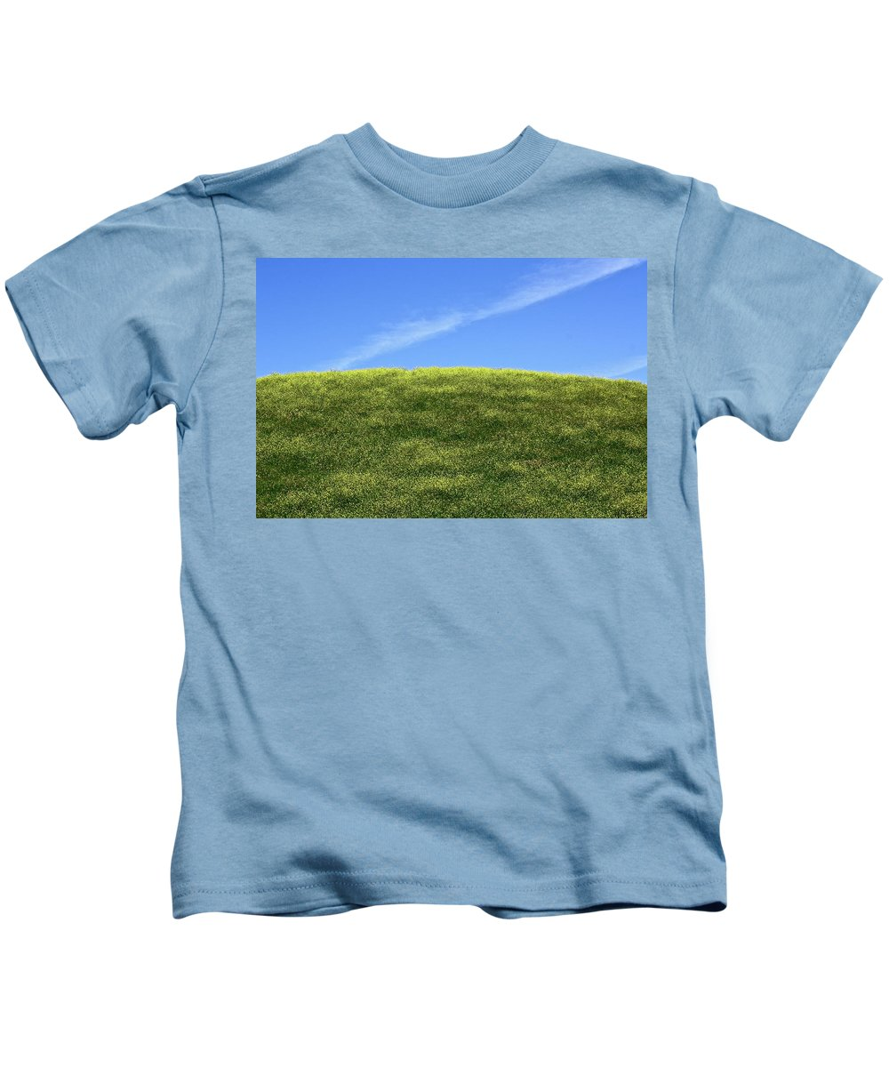 Flowers Kids T-Shirt featuring the photograph Yellow Hill by Diana Hatcher