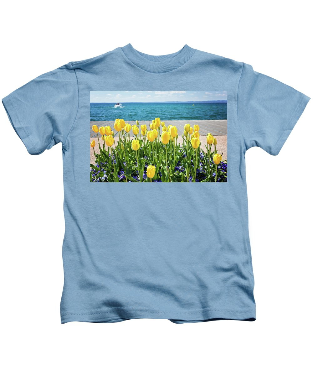 Natalia Macheda Kids T-Shirt featuring the photograph Yellow Tulips Near Lake by Natalia Macheda