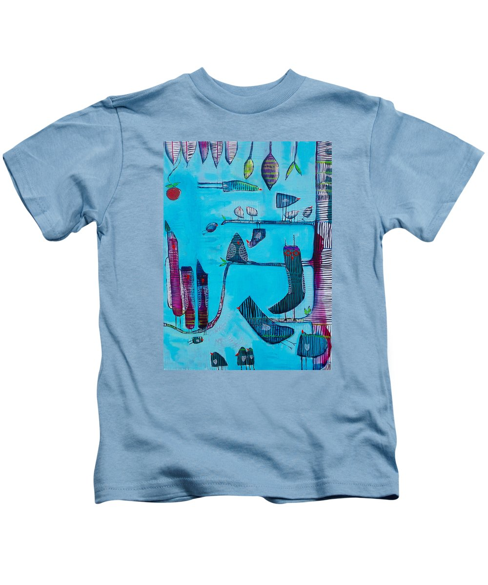 Birds Kids T-Shirt featuring the painting Zebra Tree by Jenn Ashton