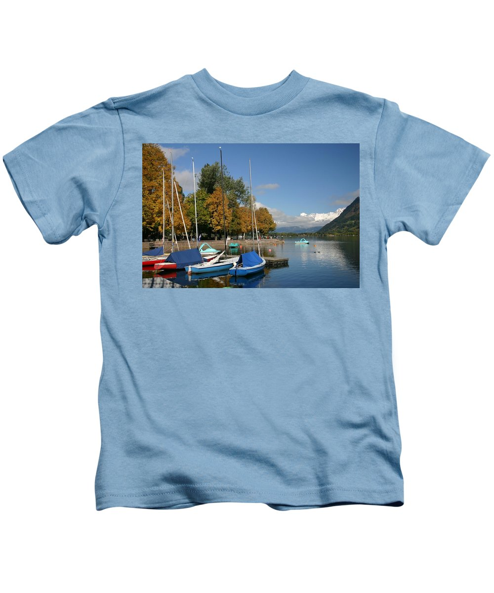 Sail Boats Kids T-Shirt featuring the photograph Zell Am See The Elements In Austria by Minaz Jantz