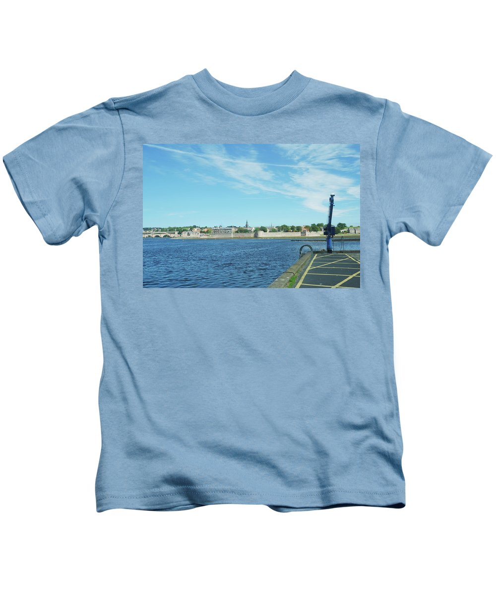 Berwick Upon Tweed Kids T-Shirt featuring the photograph Berwick Upon Tweed, River And City Walls by Victor Lord Denovan