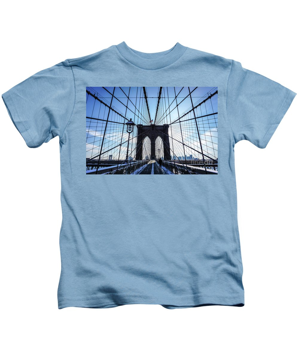 Photo Kids T-Shirt featuring the photograph Brooklyn Bridge, New York City Photo by European School