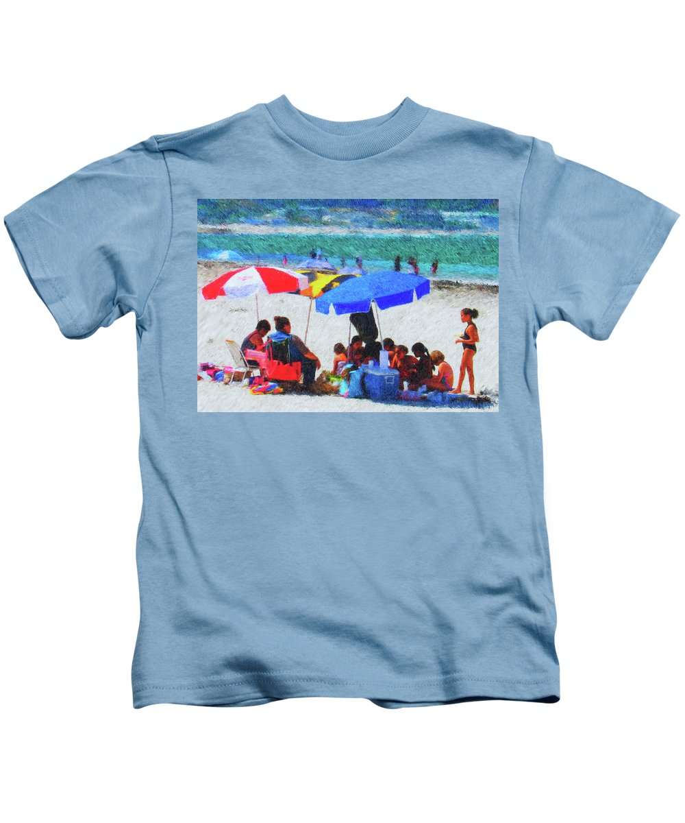 Umbrellas Kids T-Shirt featuring the painting Day At The Beach by Michael Durst