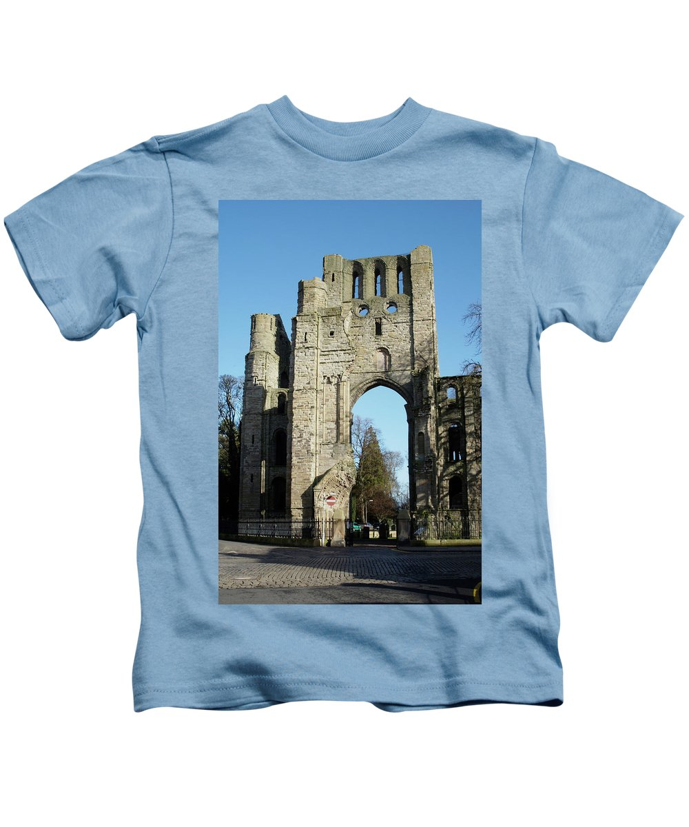 Kelso Kids T-Shirt featuring the photograph Kelso Abbey Ruin by Victor Lord Denovan