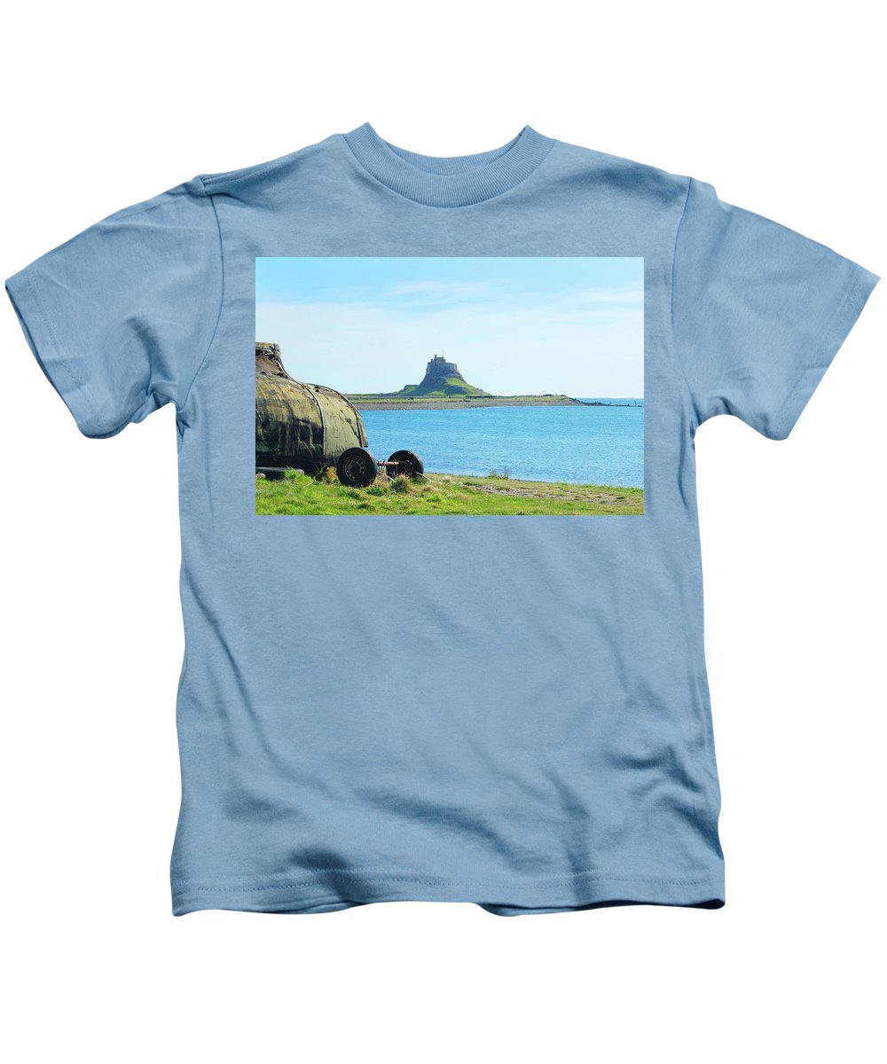 Castle Kids T-Shirt featuring the photograph Lindisfarne Castle And Bay by Victor Lord Denovan