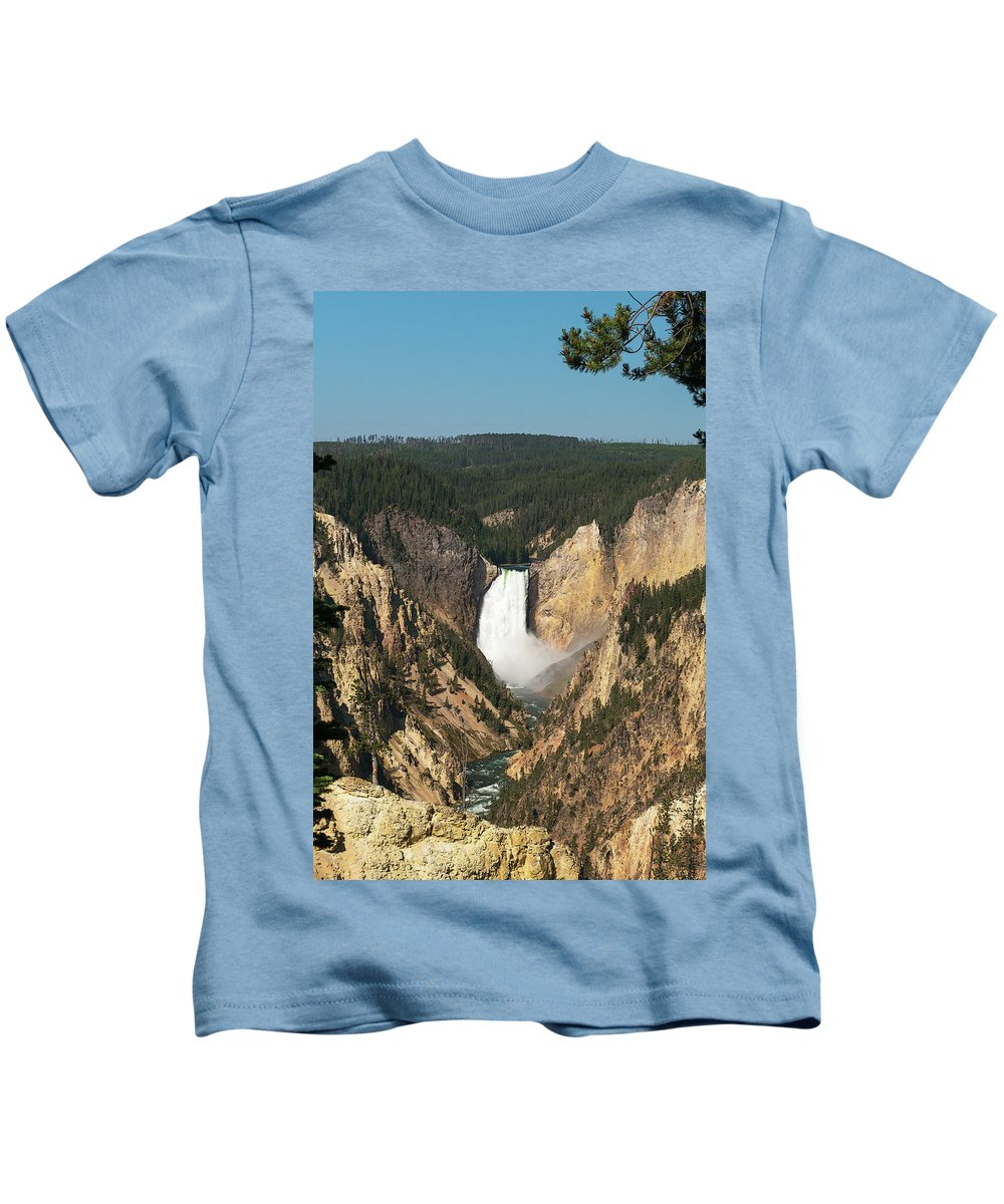 Yellowstone Kids T-Shirt featuring the photograph Lower Falls by Laurel Powell