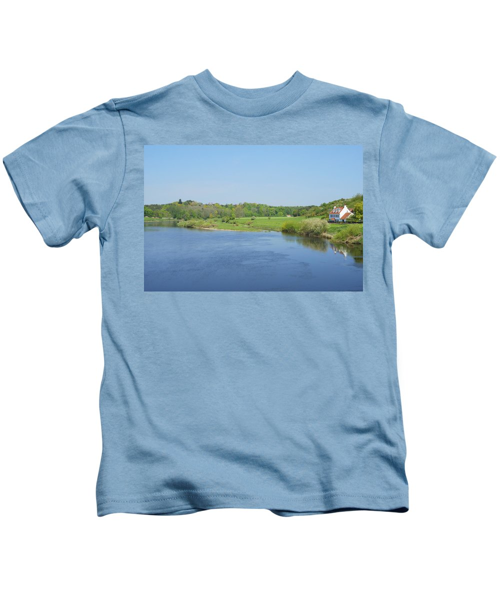Salmon Beat Kids T-Shirt featuring the photograph lower river Tweed near Horncliffe by Victor Lord Denovan