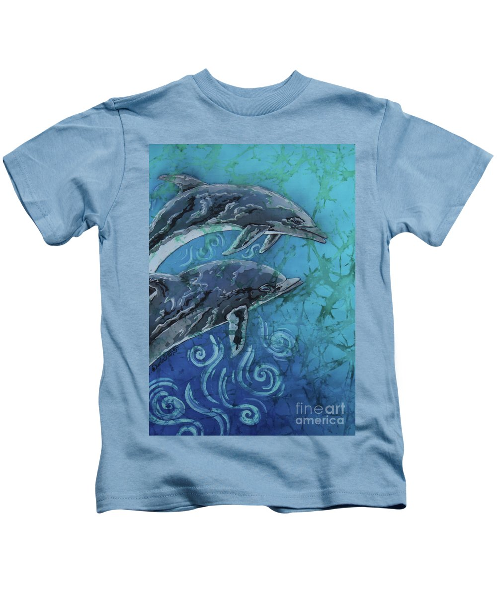 Porpoise Kids T-Shirt featuring the painting Porpoise Pair - Close Up by Sue Duda