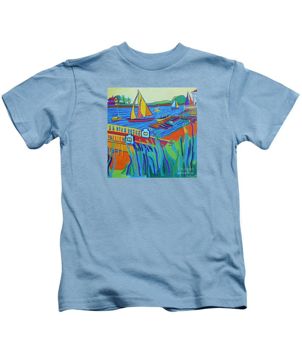 Landscape Kids T-Shirt featuring the painting Sailing at Tucks Point Manchester by the sea by Debra Bretton Robinson