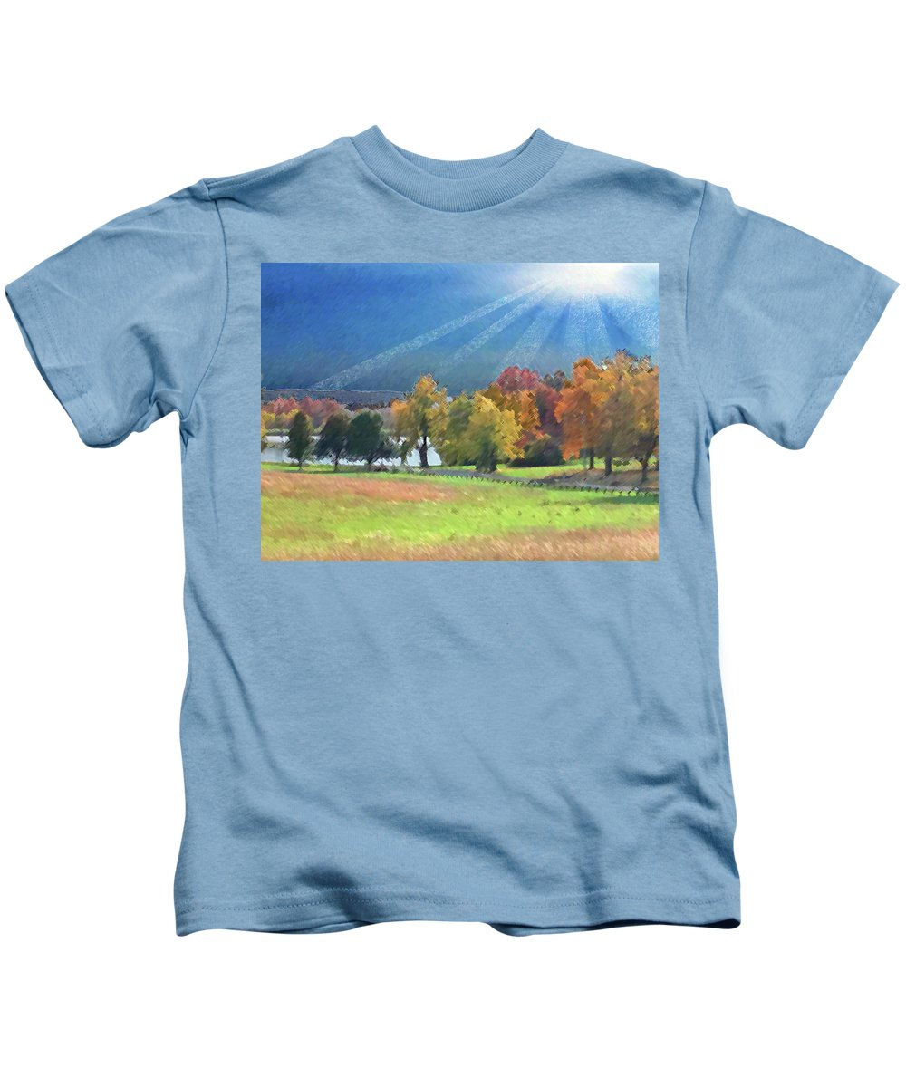 Landscape Kids T-Shirt featuring the mixed media Stocksdale Park by Steve Karol