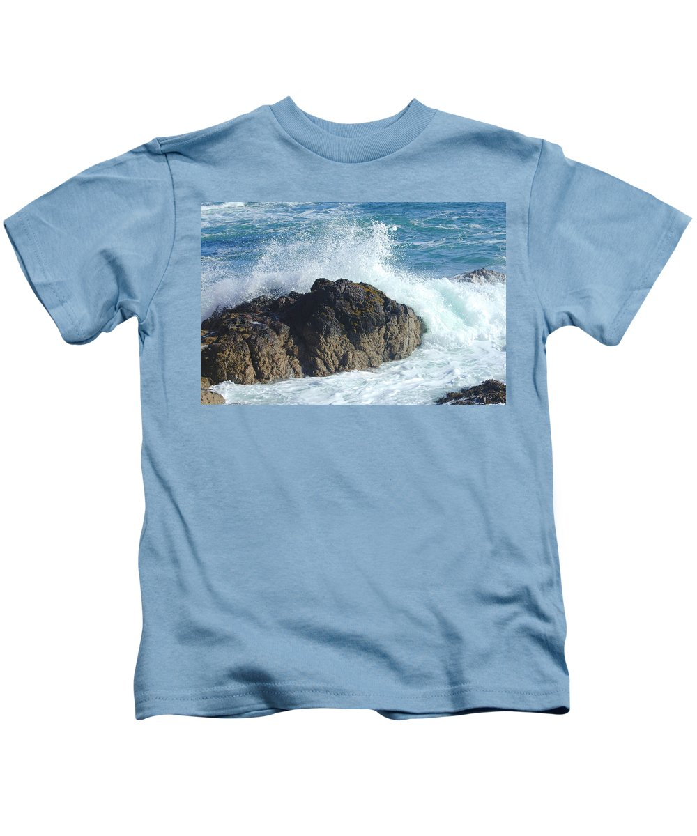 Sea Kids T-Shirt featuring the photograph Surf On Rocks by Victor Lord Denovan