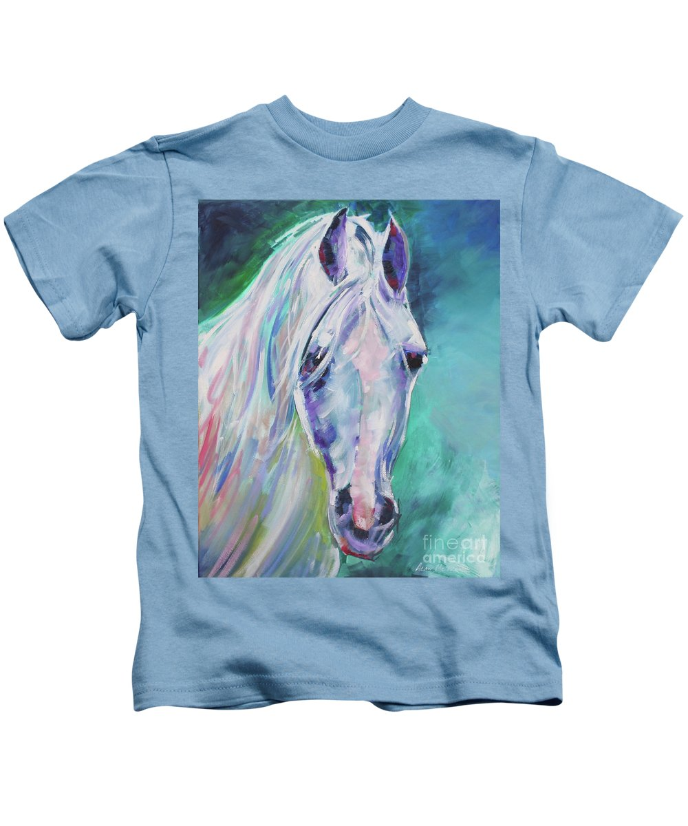 Equestrian Kids T-Shirt featuring the painting Way Beyond by Alan Metzger