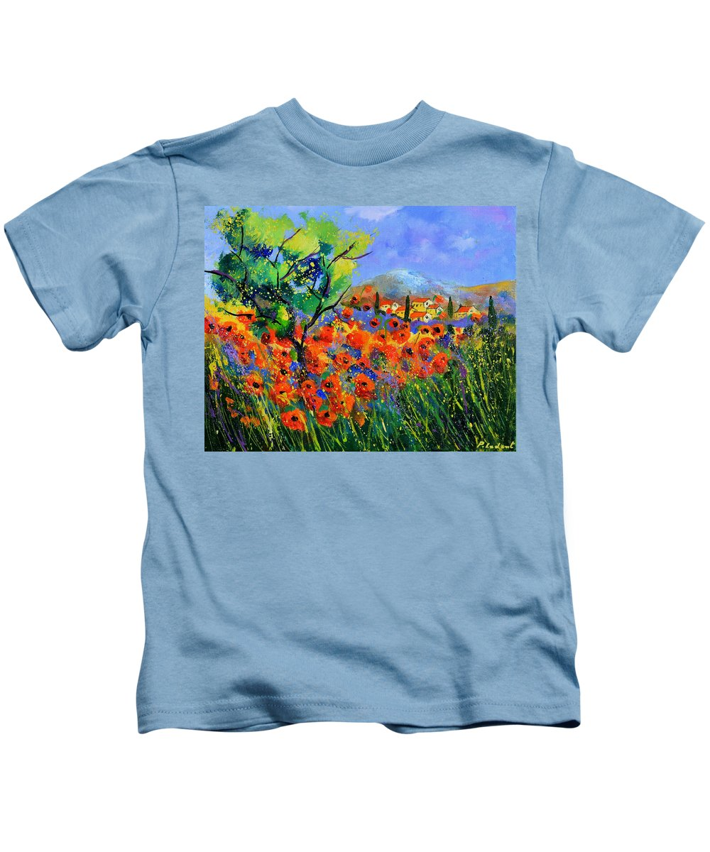 Poppies Kids T-Shirt featuring the painting Poppies in Provence by Pol Ledent