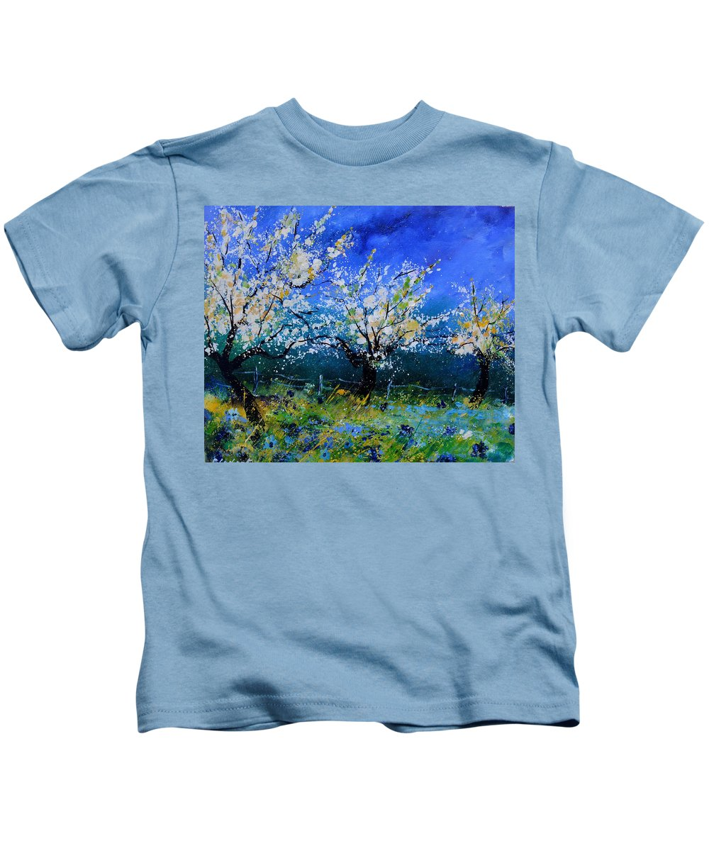 Landscape Kids T-Shirt featuring the painting Appletrees in spring by Pol Ledent