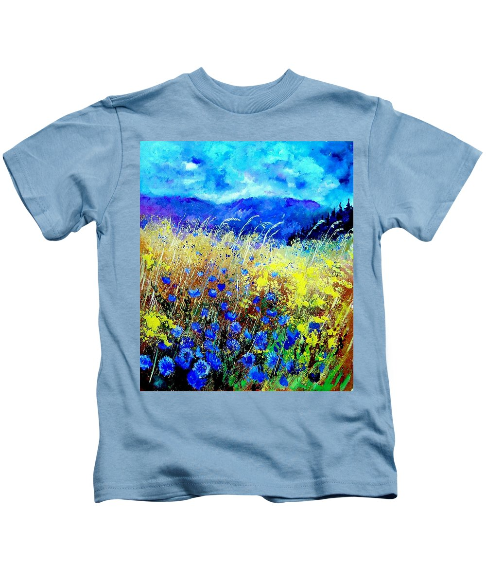 Poppies Kids T-Shirt featuring the painting Blue cornflowers 67 by Pol Ledent