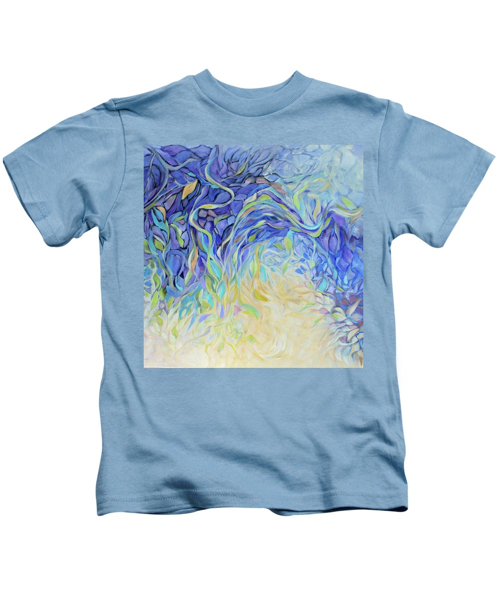 Garden Kids T-Shirt featuring the painting Garden of the Dragons by Jo Smoley