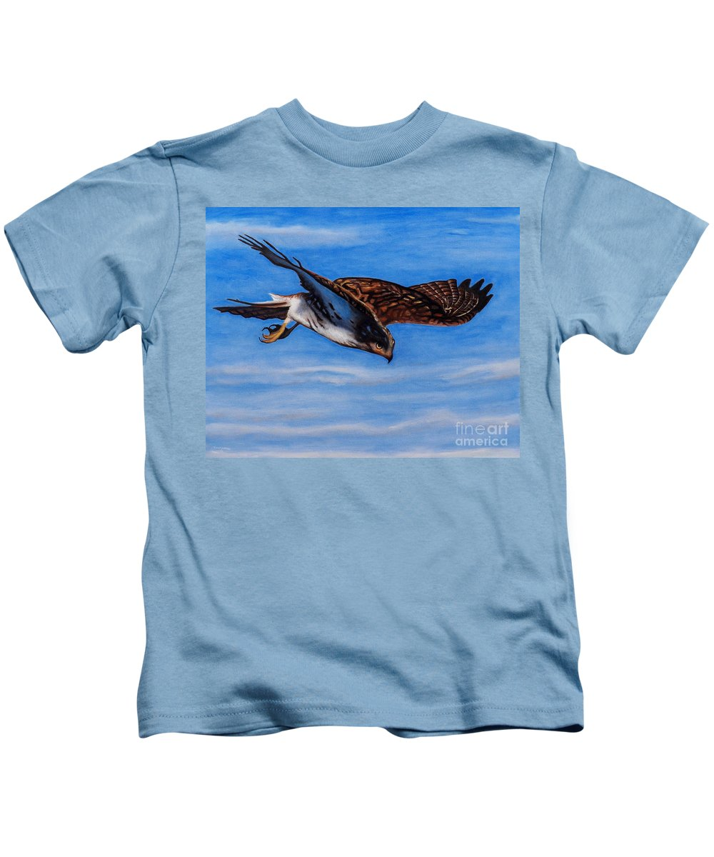 Hawk Kids T-Shirt featuring the painting Keen Eye Bold Heart by Brian Commerford