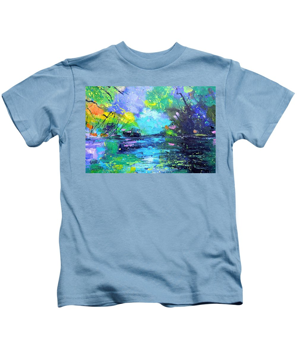 Nympheas Kids T-Shirt featuring the painting Magic waters by Pol Ledent
