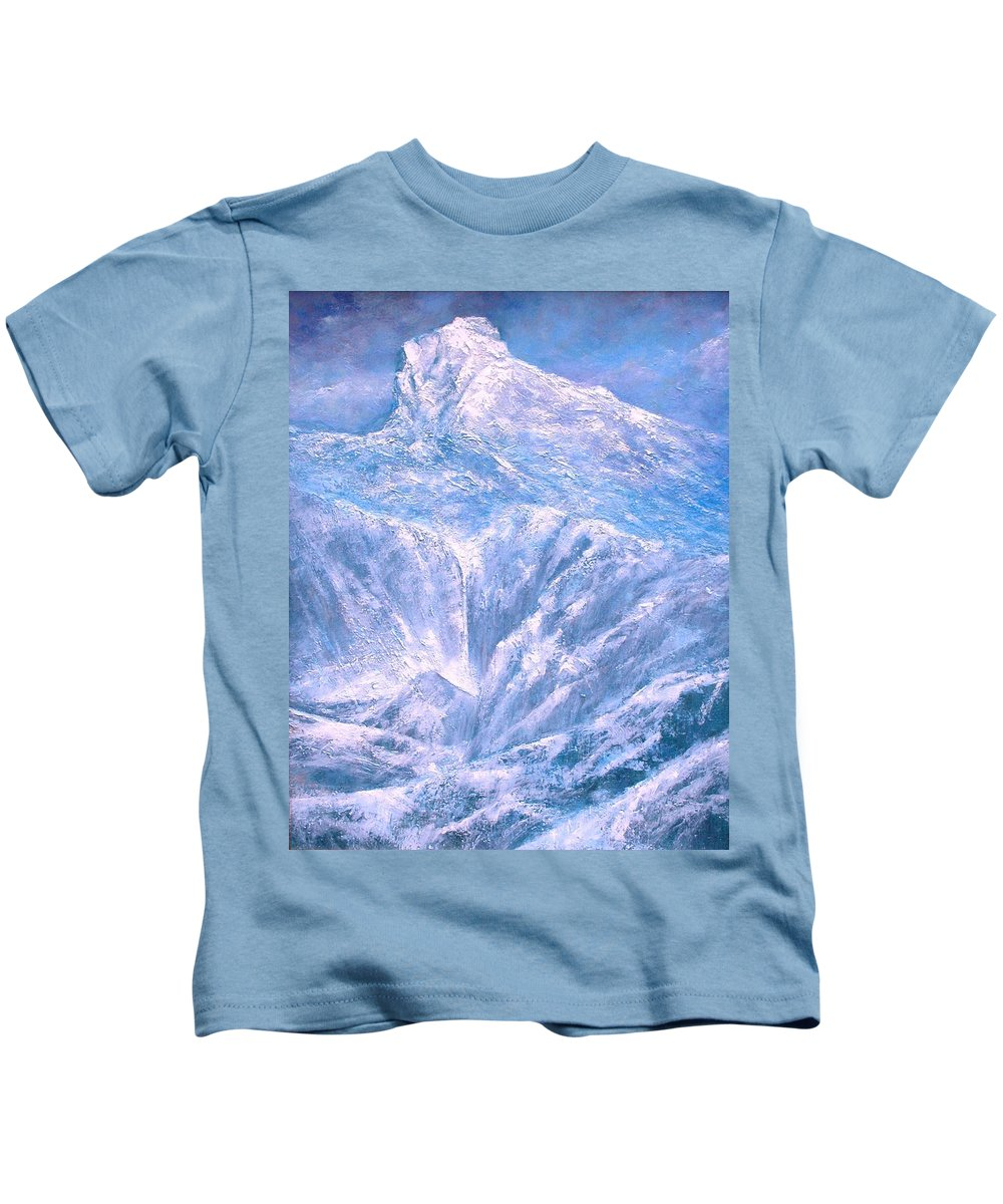 Landscape Kids T-Shirt featuring the painting Near The Tetons by Jim Gola