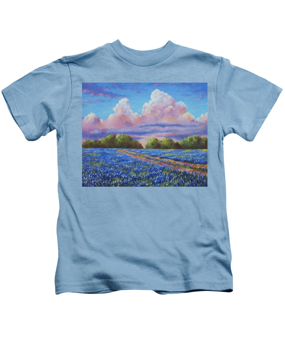 Rain Kids T-Shirt featuring the painting Rain For The Bluebonnets by David G Paul