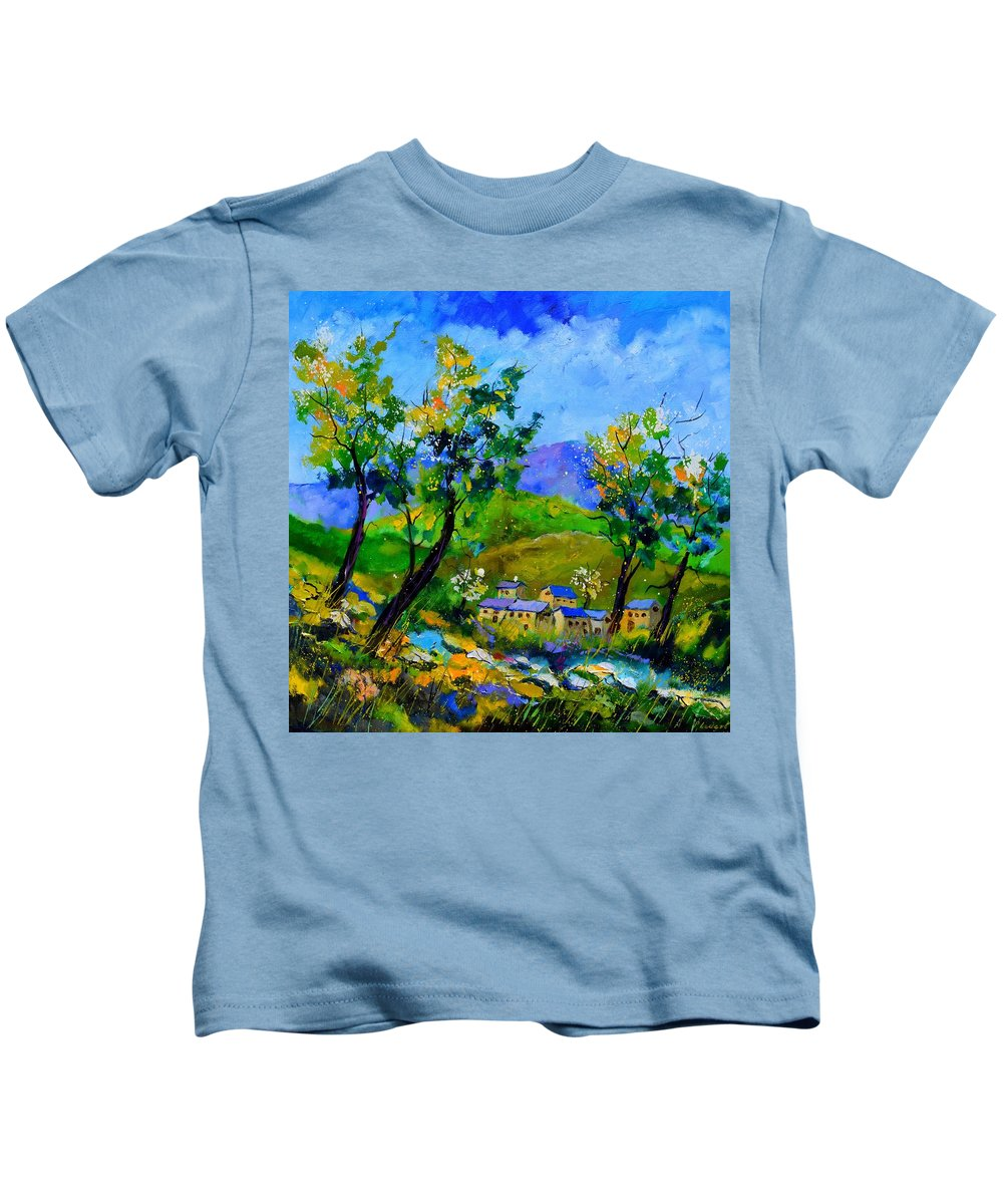 Landscape Kids T-Shirt featuring the painting Spring in the valley by Pol Ledent