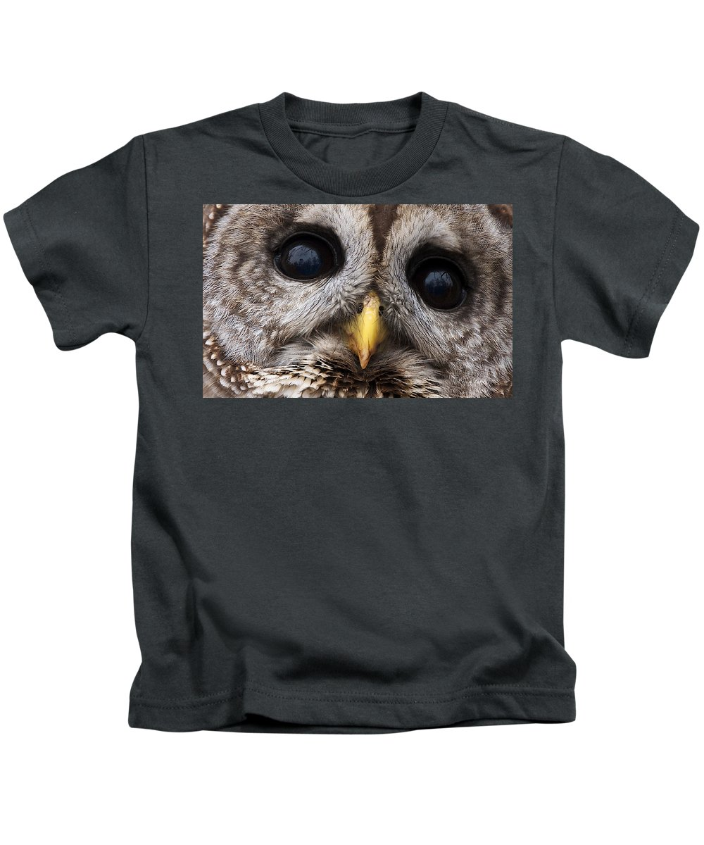 Eye's Kids T-Shirt featuring the photograph Barred Owl Eye's by Craig Voth