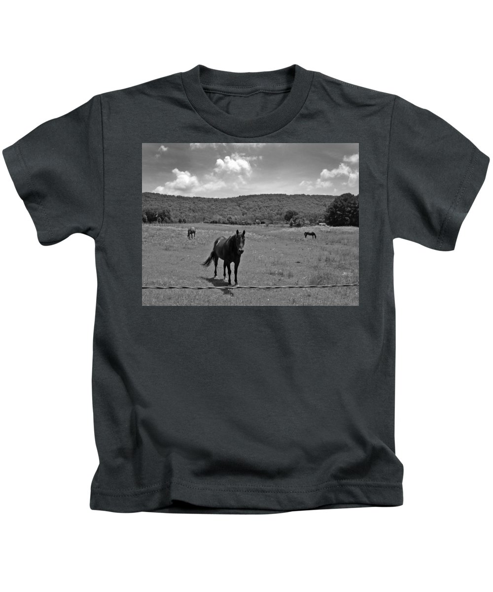 Horses Kids T-Shirt featuring the photograph Black And White Pasture With Three Horses by Anne Cameron Cutri