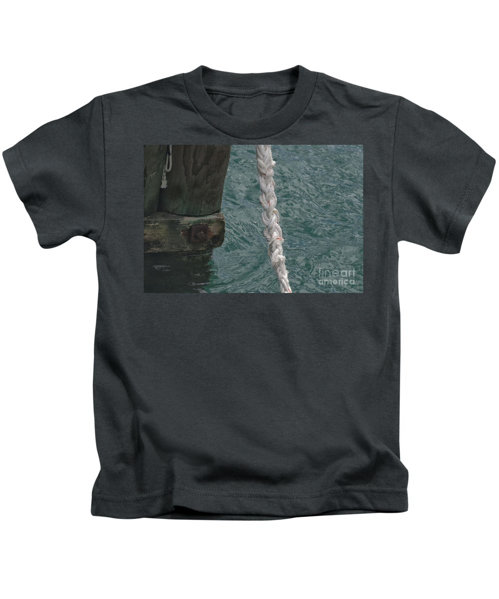 Bay Of Islands Dock Rope And Wood Kids T-Shirt featuring the photograph Dock Rope And Wood by Loriannah Hespe