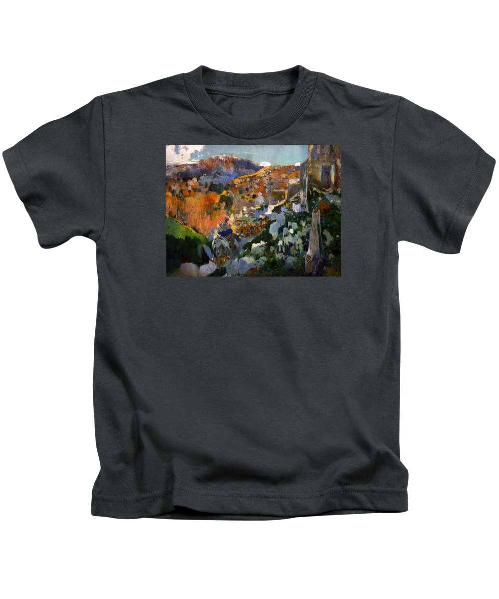 Joaquin Kids T-Shirt featuring the painting The Jewel Laleixar 1910 by Joaquin Mir