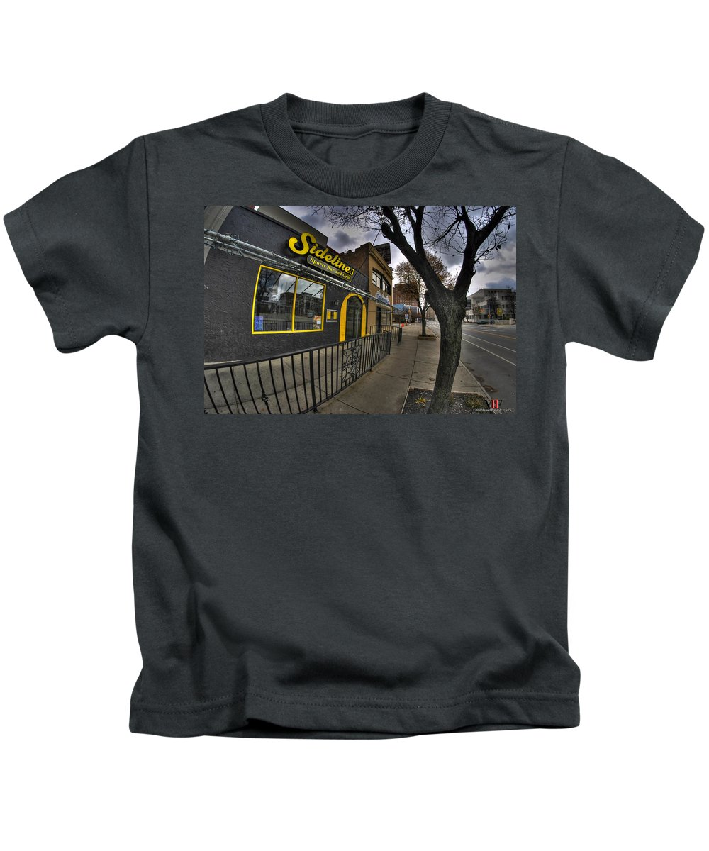 Michael Frank Jr Kids T-Shirt featuring the photograph 001 Sidelines Sports Bar And Grill by Michael Frank Jr